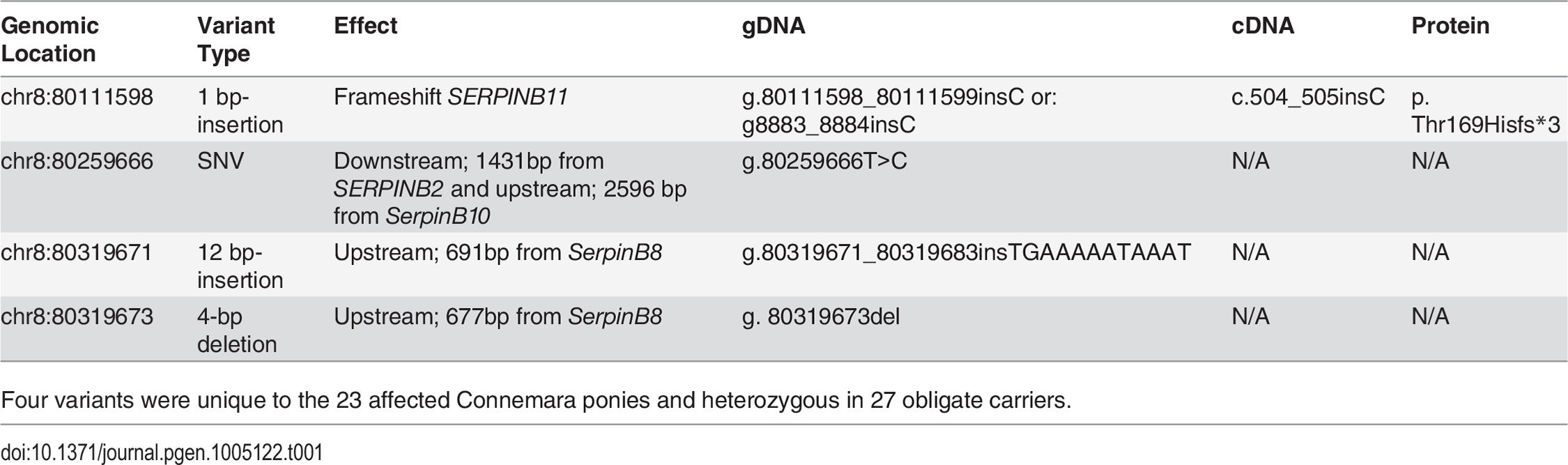 Variants segregating with HWSD phenotype.