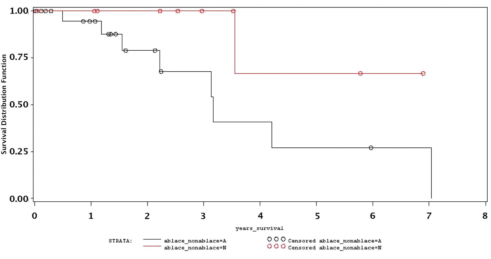 "Význam ""non ablace"" po RFA z hlediska dlouhodobého přežívání (A-non ablace, N-ablace) Graph 5. Significance of ""non ablation"" following RFA for long- term survival rates (A-ablation, N-non ablation)"