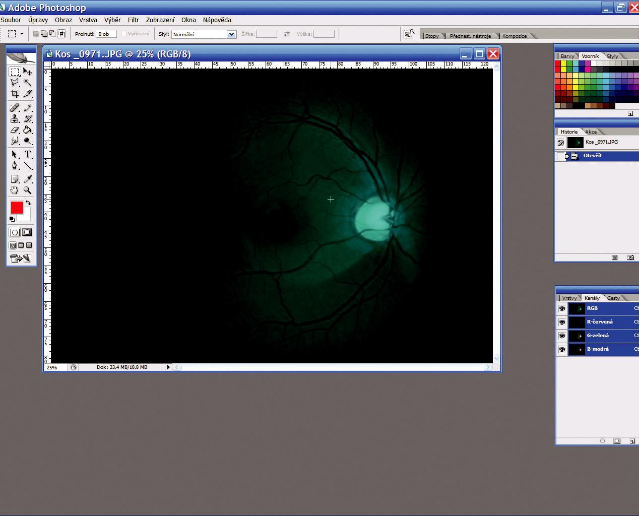 Originální snímek a jeho načtení do programu Photoshop