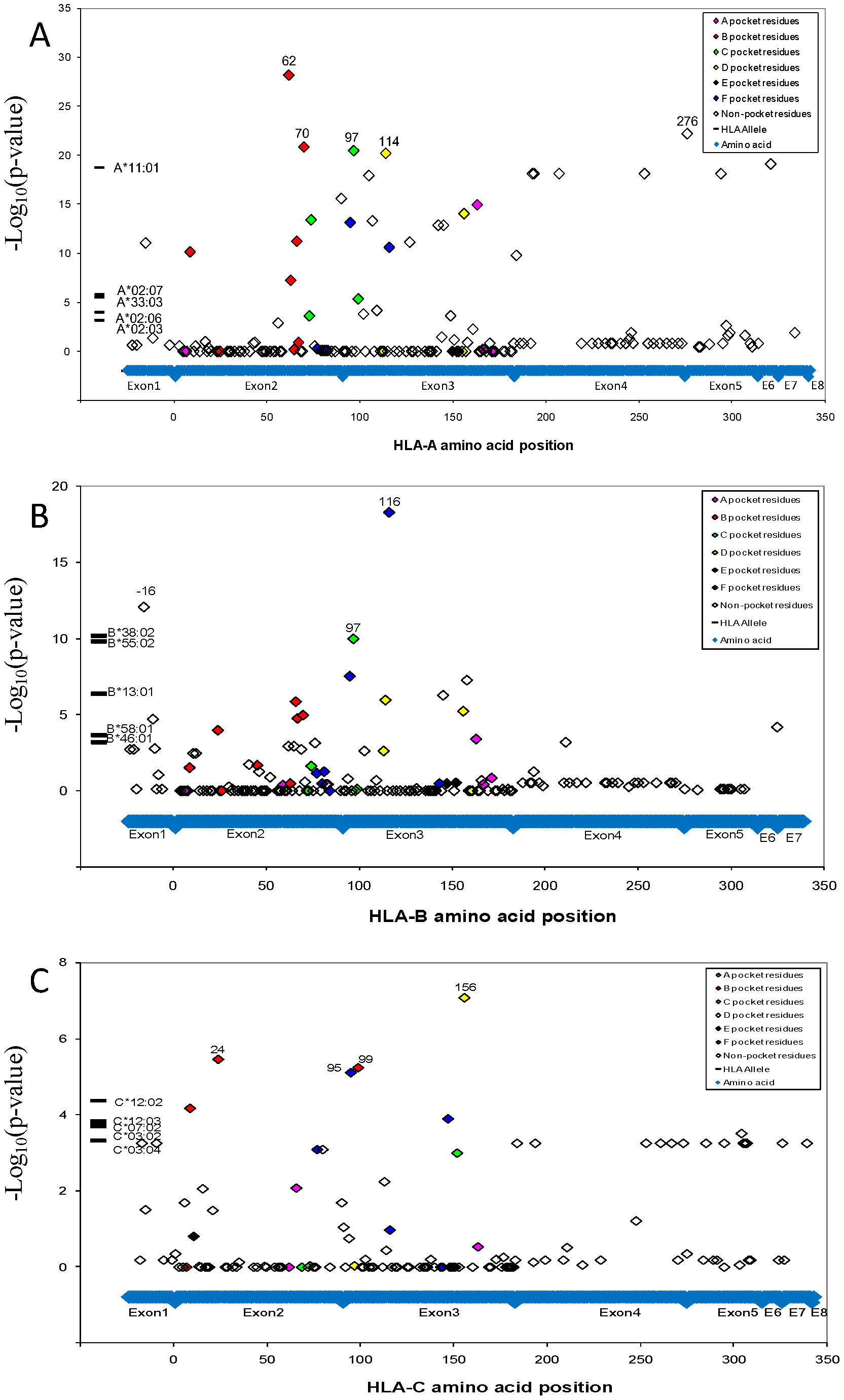NPC associations of HLA alleles and amino acid variants.