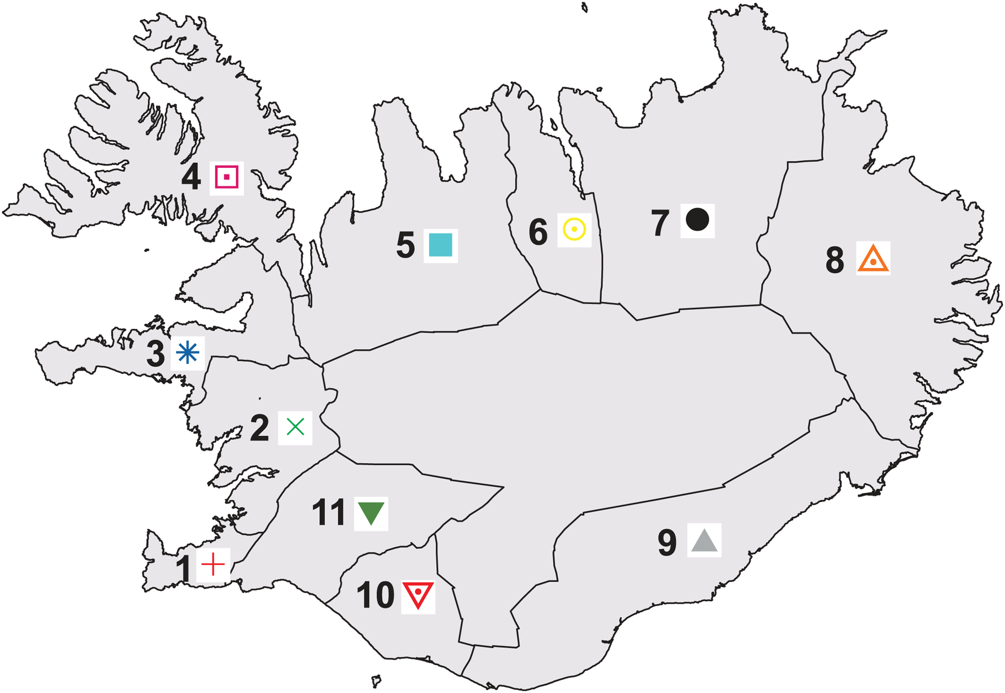 Map of 11 regions of Iceland, color-coded to match <em class=&quot;ref&quot;>Figures 2</em> and <em class=&quot;ref&quot;>3</em>.
