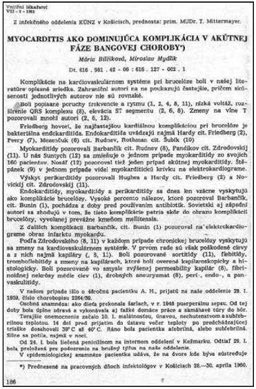 Prvá strana publikácie Bilčíková M, Mydlík M. Myocarditis ako dominujúca komplikácia v akútnej fáze Bangovej choroby, uverejnená vo februárovom čísle ročníku 1961, v časopise Vnitřní lékařství.