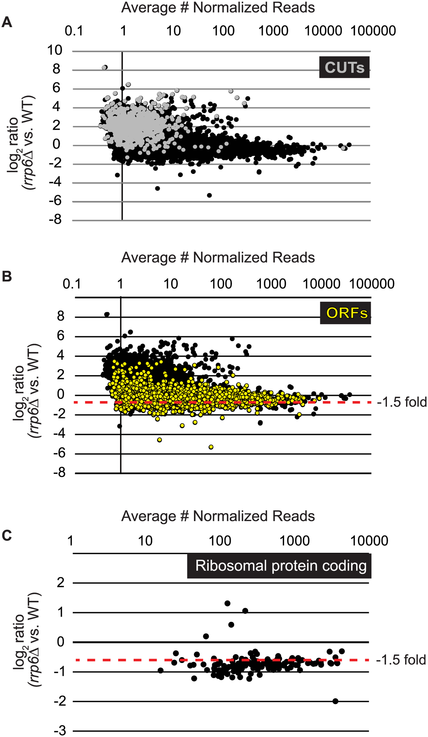 Expression plots for normalized RNA-SEQ data with specific classes of RNA transcripts highlighted.