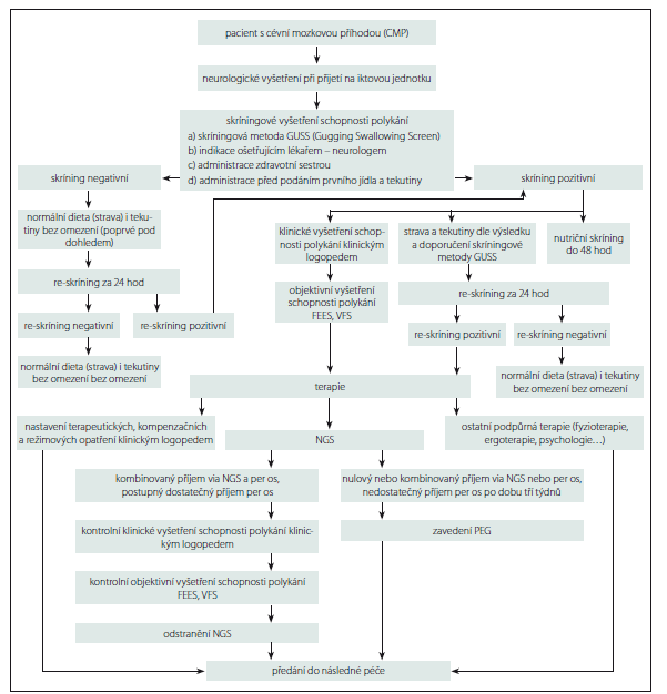 Příloha 1. Vývojový diagram 1. Péče o pacienty s dysfagií po CMP.