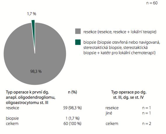 Typy operací – anaplastické oligogliomy WHO st. III.