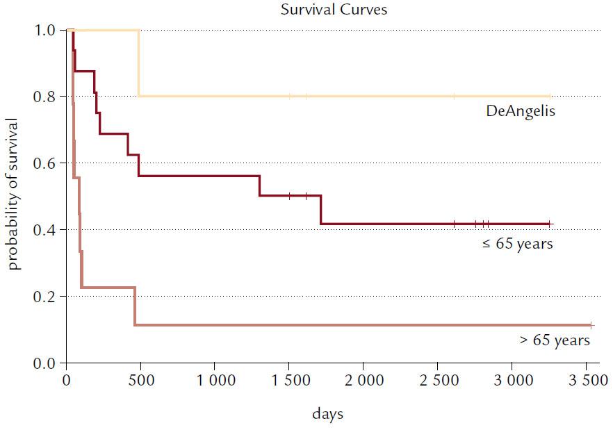 Kaplan-Meierovy křivky celkového přežití pacientů s dg. primárního lymfomu CNS, kteří byli léčeni na Interní hematoonkologické klinice FN Brno. Pacienti byli rozděleni do dvou věkových skupin (do 65 let a nad 65 let); zvlášť je pak uvedena křivka přežití pro ty pacienty, kteří absolvovali úplnou léčbu kombinovaným sekvenčním režimem (DeAngelis). Statistická signifikance pro všechny skupiny: p < 0,01.