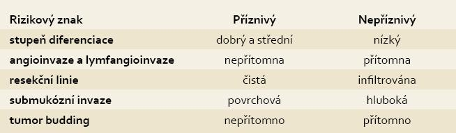 Histologické rizikové znaky v resekátu. Tab. 2. Histopathological risk criteria in specimen.