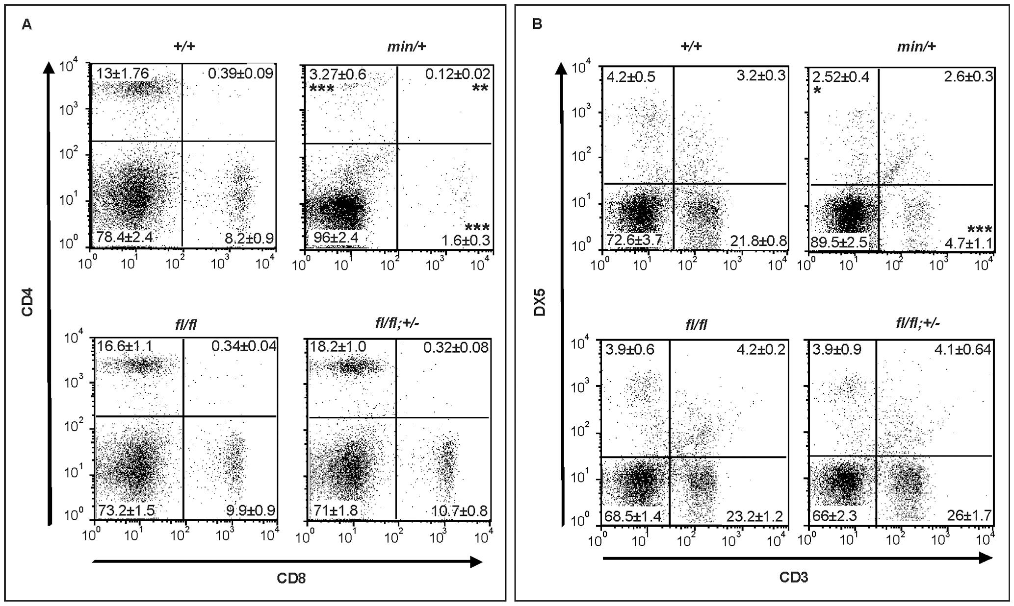 Lymphodepletion in <i>Apc</i> hypomorphic mice.