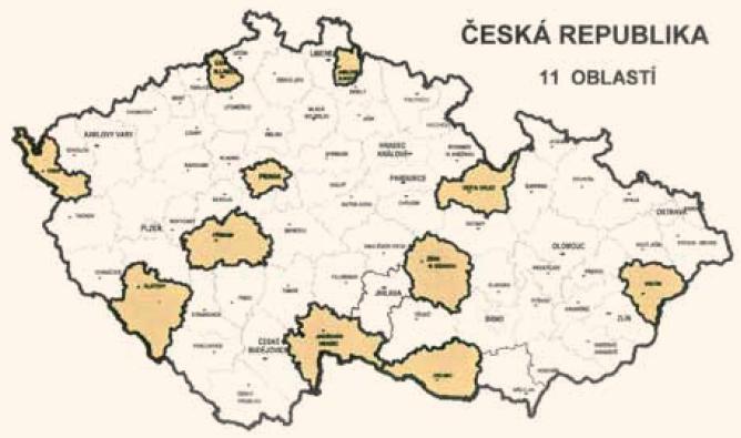 Mapa – 11 oblastí v České republice. 4 094 dospělých osob (1 603 mužů + 2 491 žen).