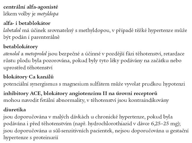 Antihypertenziva užívaná v těhotenství.