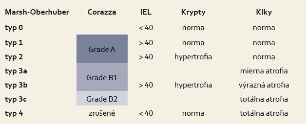 Porovnanie Marsh-Oberhuberovej klasifikácie [25] a klasifikácie Corazzu et al [26]. Tab. 1. A comparison of the Marsh-Oberhuber classification [25] with the classification of Corraza and others [26].