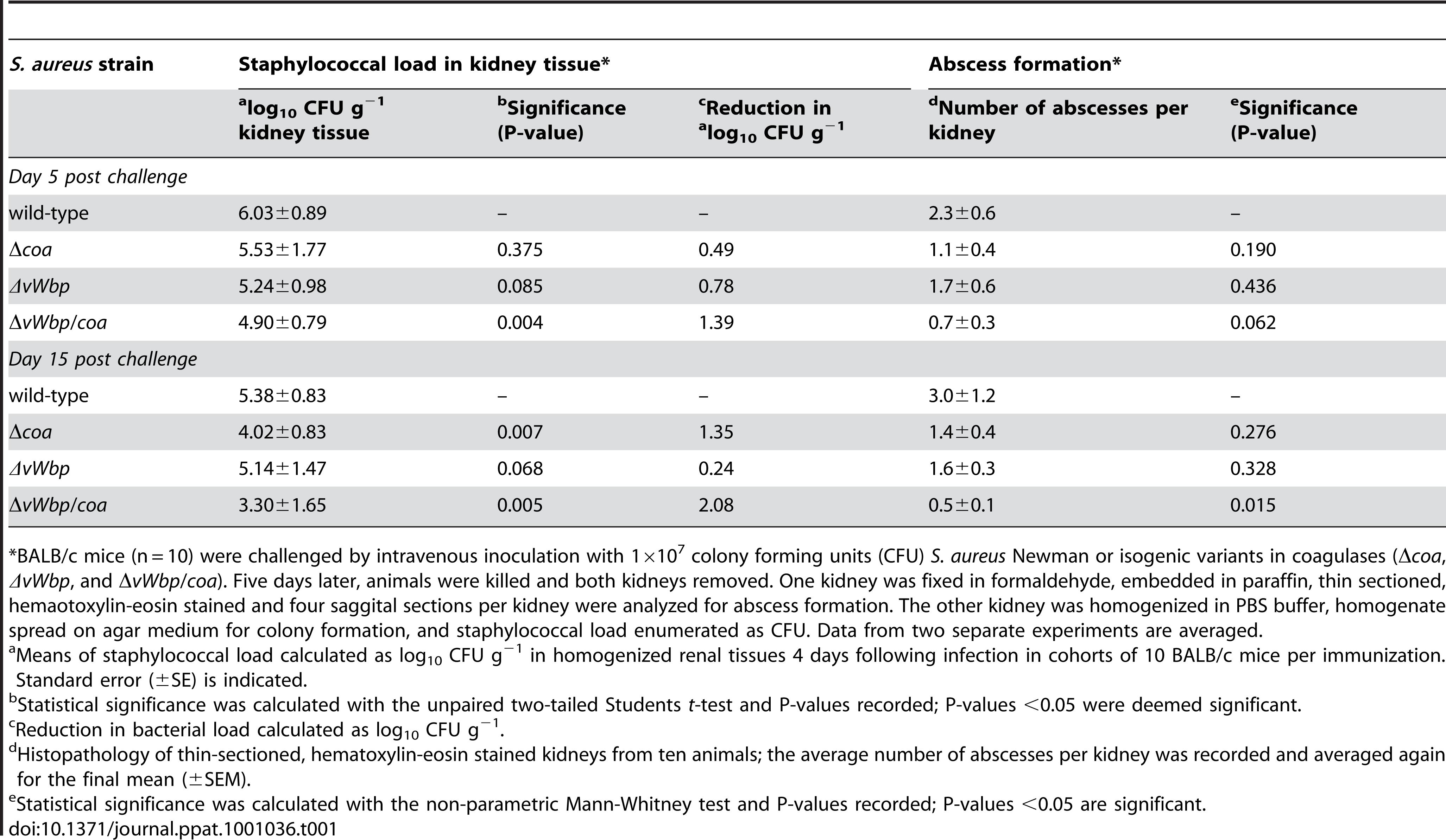 Virulence of staphylococcal Δ<i>coa</i>, <i>ΔvWbp</i>, and Δ<i>vWbp</i>/<i>coa</i> variants.