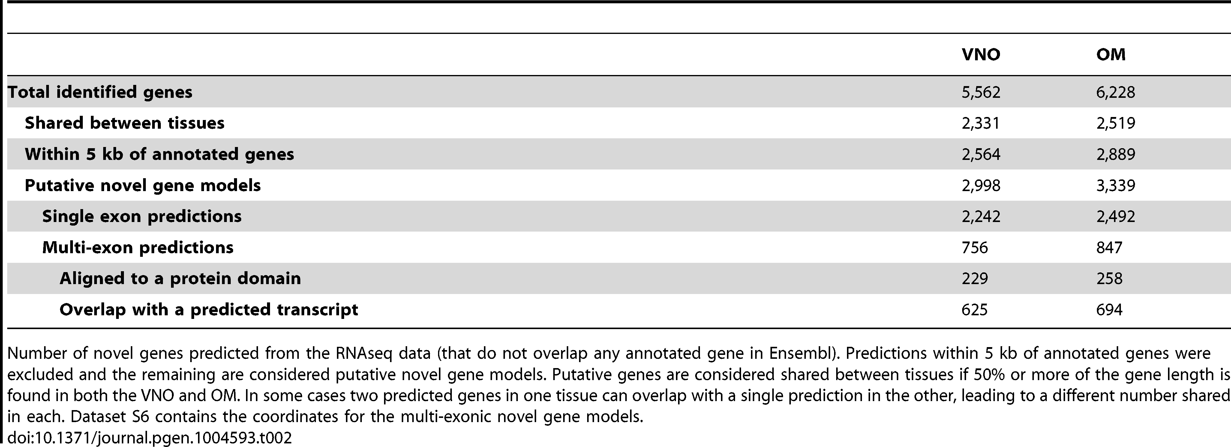 Putative novel genes.