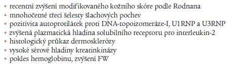 Faktory zhoršení systémové sklerodermie [24,25].