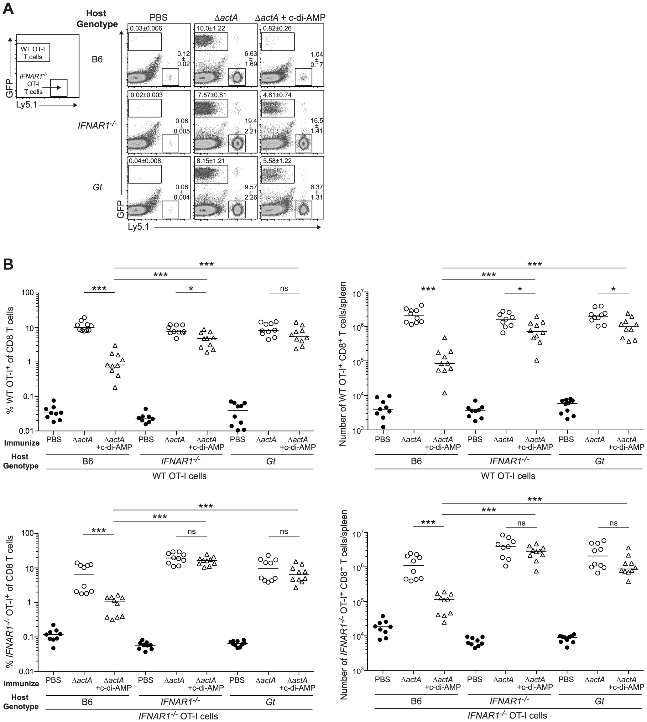 Type I IFN-mediated immune suppression is T cell extrinsic.