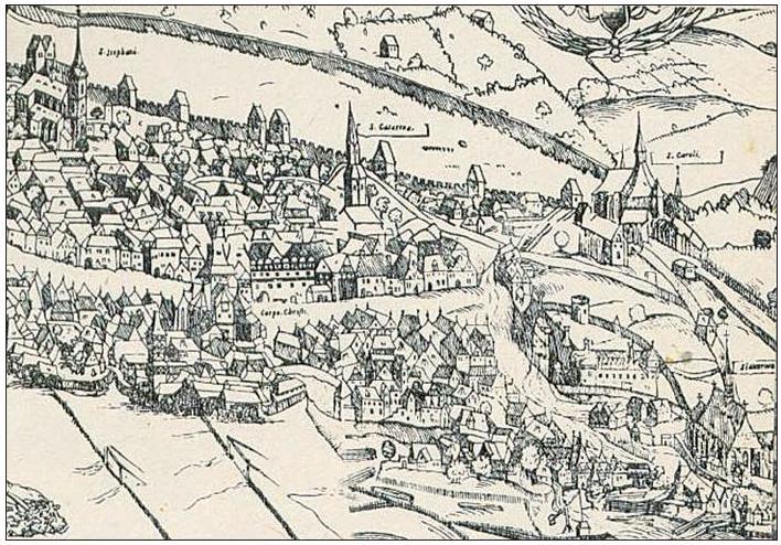Pohled na Dobytčí trh s Kopovským domem. Jan Kozel-Michal Peterle: Prospekt Prahy z roku 1562. (detail)