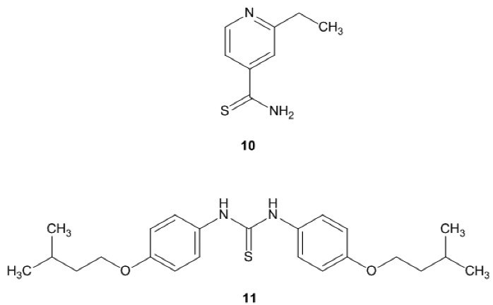 Fig. 5. Structures of ethioamide(10) and thiocarlide (11)