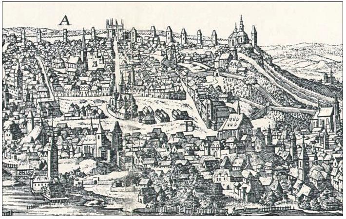 Dobytčí trh z rytiny ze 17. století