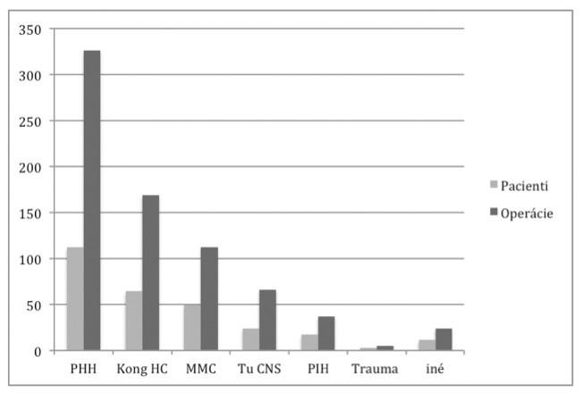 Etiológia hydrocefalu v sledovanom súbore pacientov (n = 280) a zrealizovaných výkonov (n = 739).