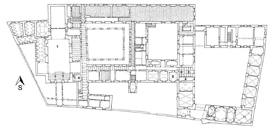 Plán přízemí hradčanského kapucínského kláštera: (1) kostel Panny Marie a sv. andělů, (2) vstupní chodba lékárny, (3) oficína, (4) lékárenská laboratoř, (5) laboratoř pro výrobu kapucínského balzámu (do roku 1944), (6) laboratoř pro výrobu kapucínského balzámu (1946–1950)