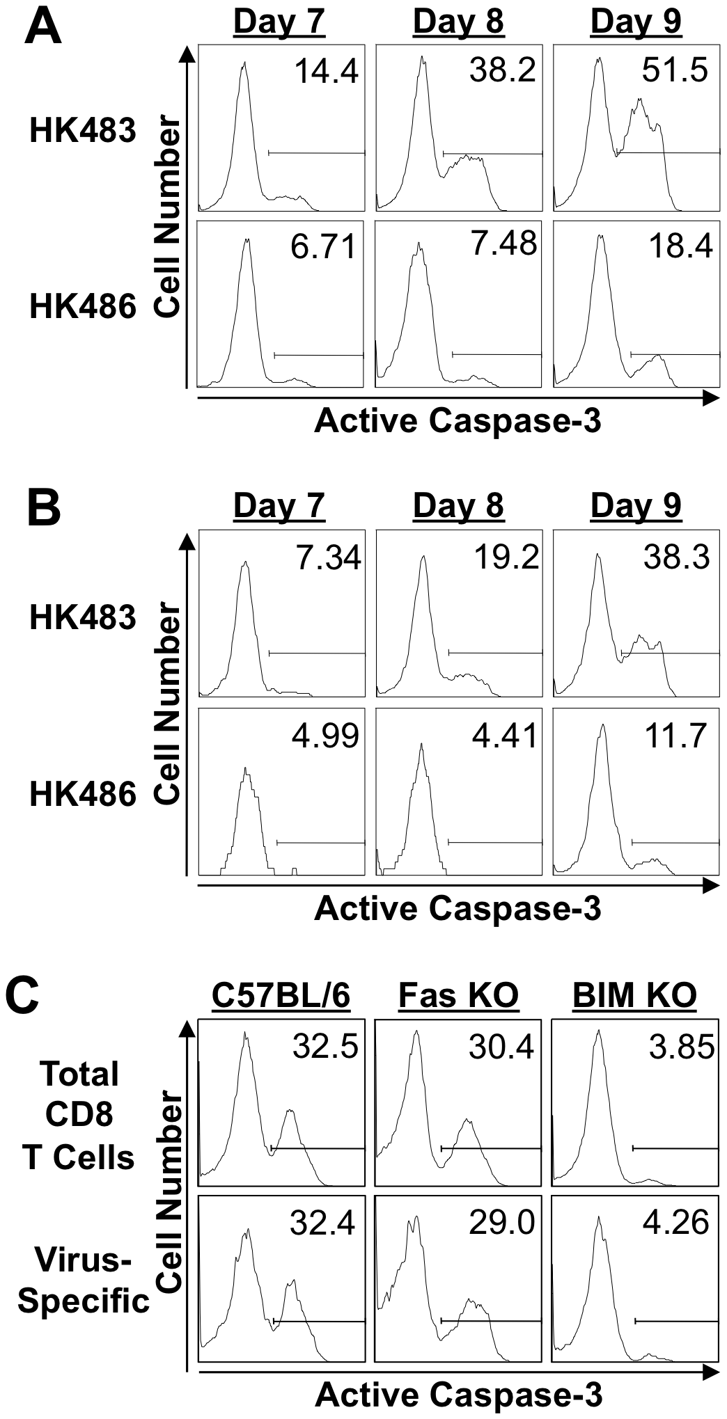 Apoptosis of CD8 T cells in mice infected with H5N1 viruses.