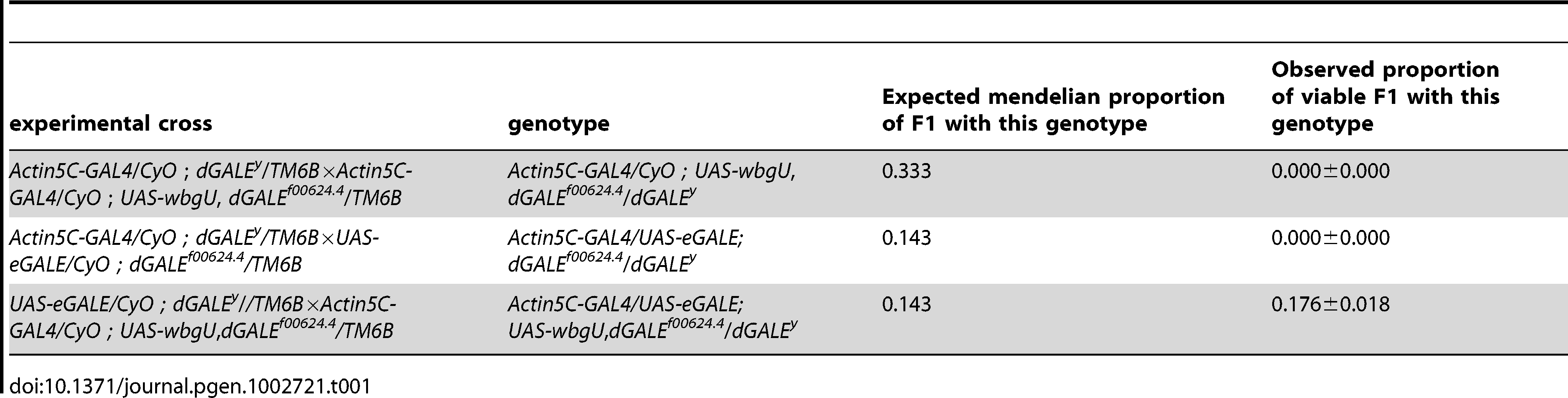 Crosses to test rescue of <i>wbgU</i> and <i>eGALE</i> transgenes individually and in combination.
