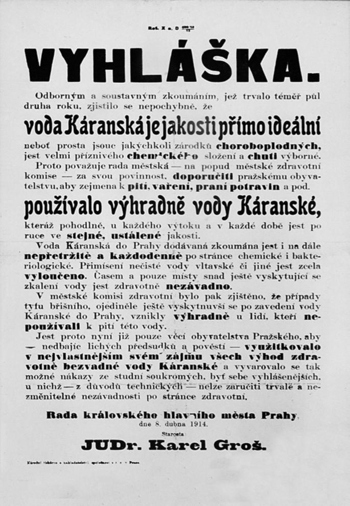 Faksimile vyhlášky propagující zdravotní nezávadnost pitné vody Káranské po vybudování káranského vodovodu zásobujícího Prahu od roku 1912.