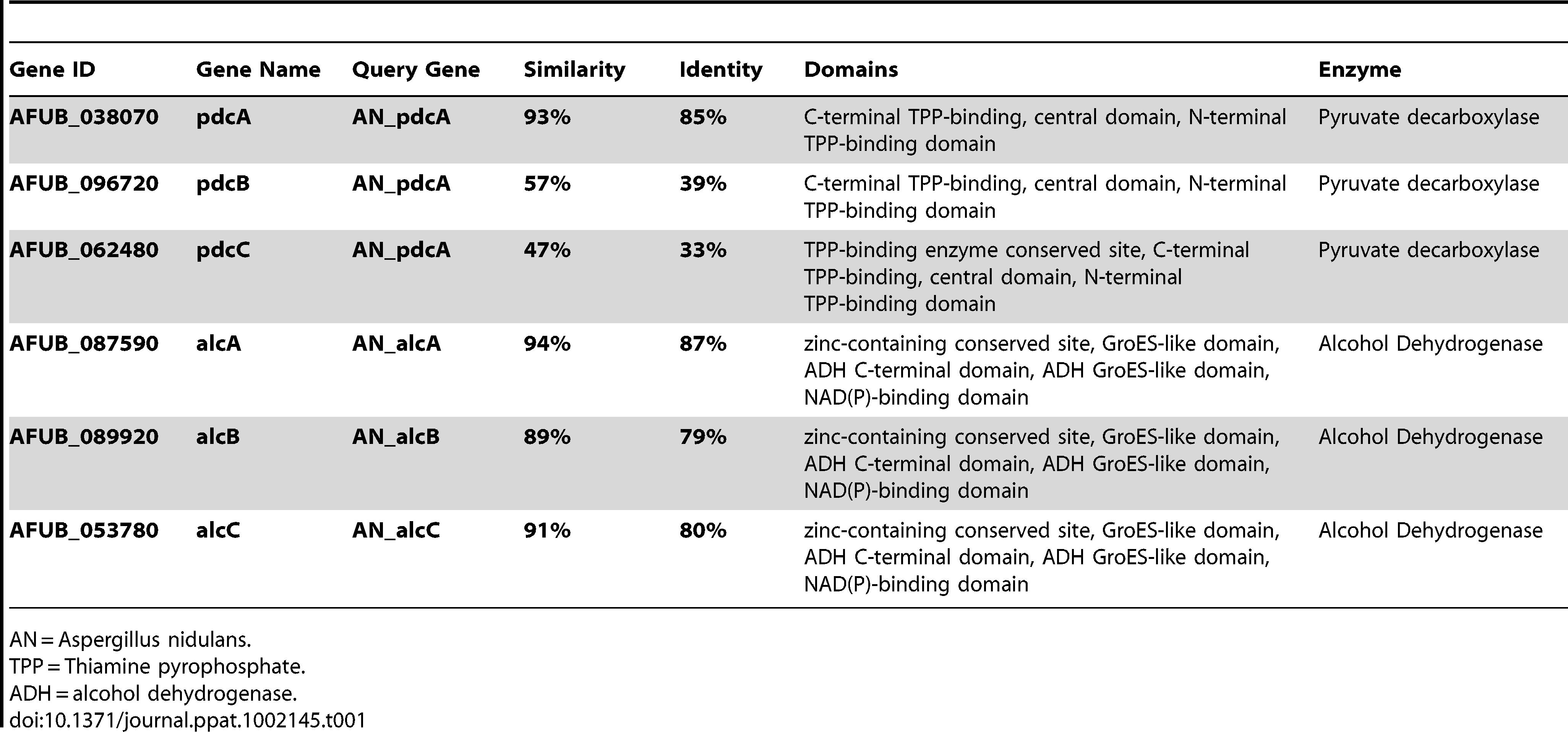 Genes involved in <i>A. fumigatus</i> ethanol fermentation pathway.
