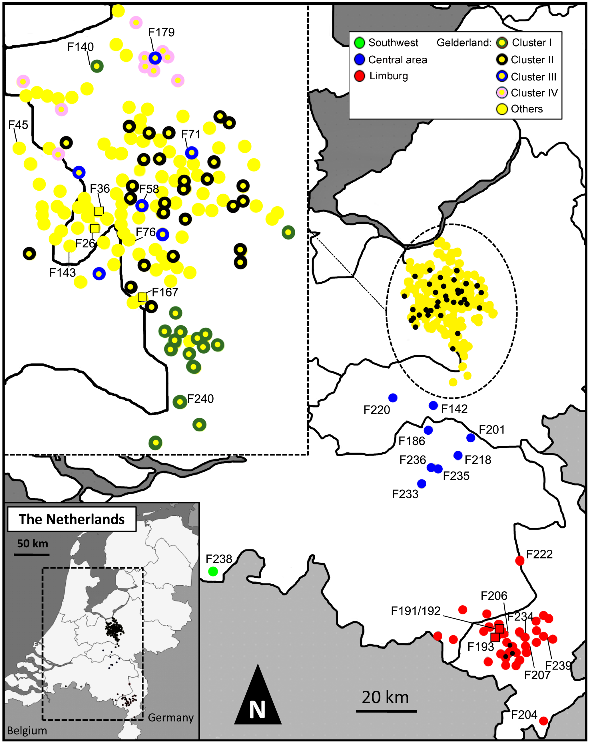 Map indicating the locations of farms infected during the 2003 HPAI H7N7 epidemic.