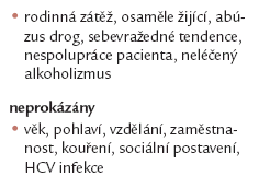 Prediktory rekurence alkoholizmu po TJ II [10,11].