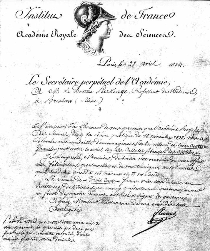 Diplom potvrzující Purkyňovo členství v pařížské Akademii