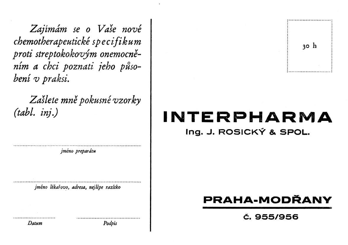 Dopisnice fy Interpharma, Praha – Modřany; po roce 1932, ČFM