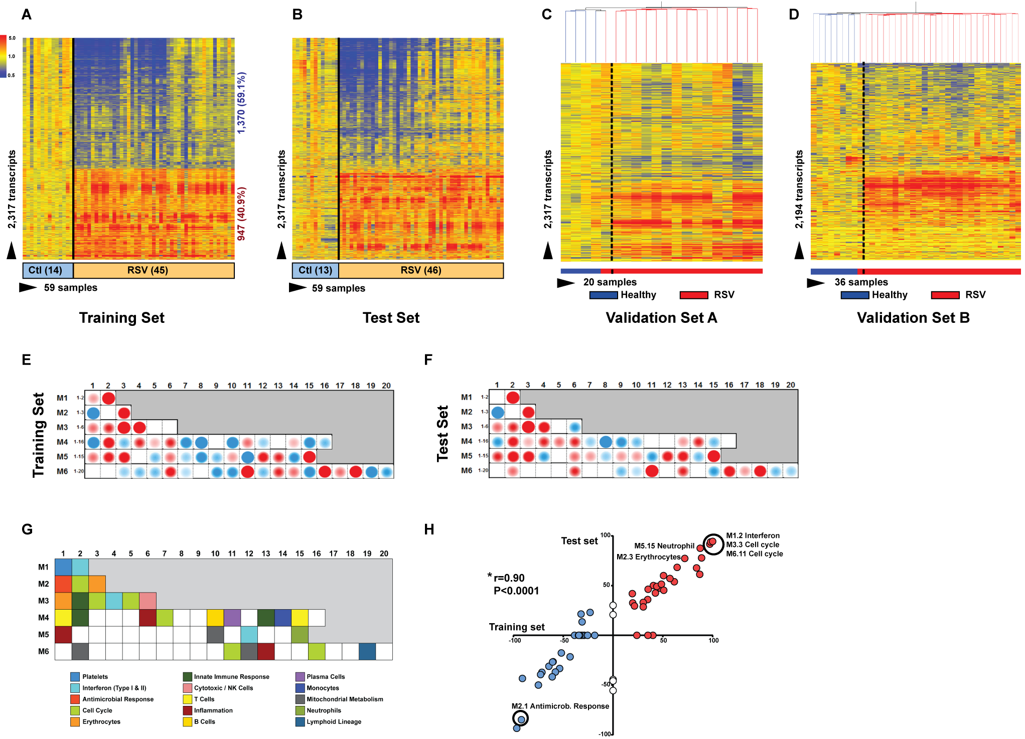 RSV transcriptional signature is characterized by overexpression of innate immunity and suppression of adaptive immunity.
