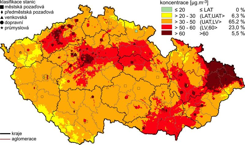 Denní koncentrace prachových částic (PM<sub>10</sub>) v České republice v roce 2006 (procenta plochy území, na kterém byly uvedené koncentrace) LAT – dolní mez pro posuzování, UAT – horní mez pro posuzování, LV – hodnota imisního limitu (26)