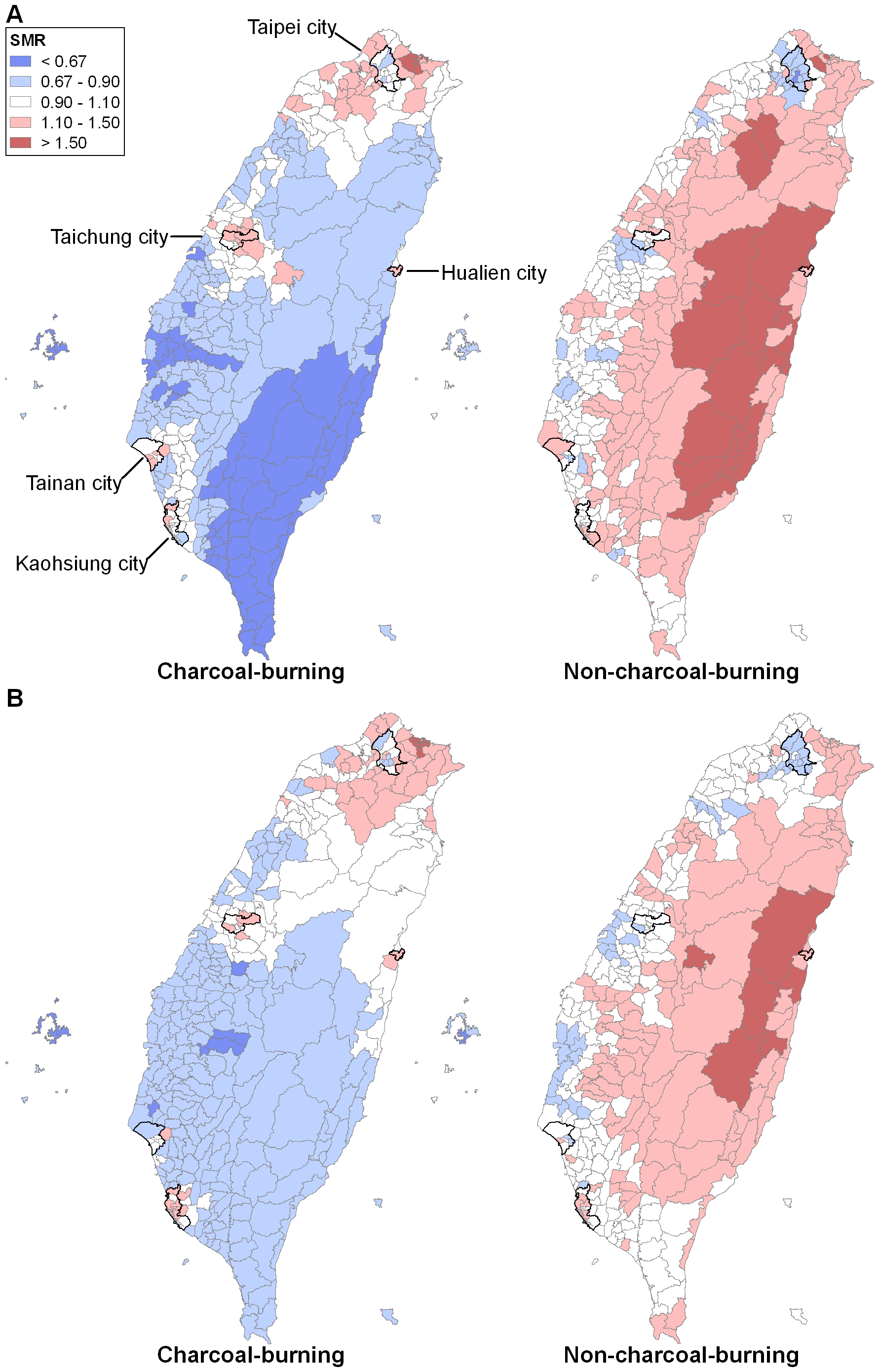 Maps of SMRs for charcoal-burning and non-charcoal-burning suicides (including registered suicides and undetermined deaths) across 358 townships in Taiwan, 1999–2007, with five major cities highlighted.