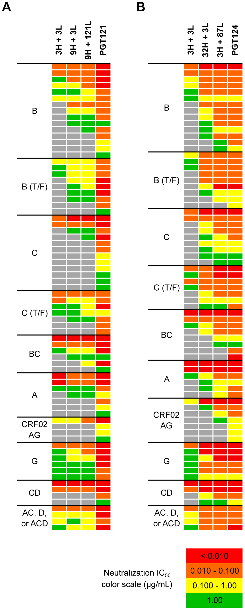 Selected heavy and light chain clones were paired and tested for neutralization breadth and potency on a cross-clade 6-virus panel.