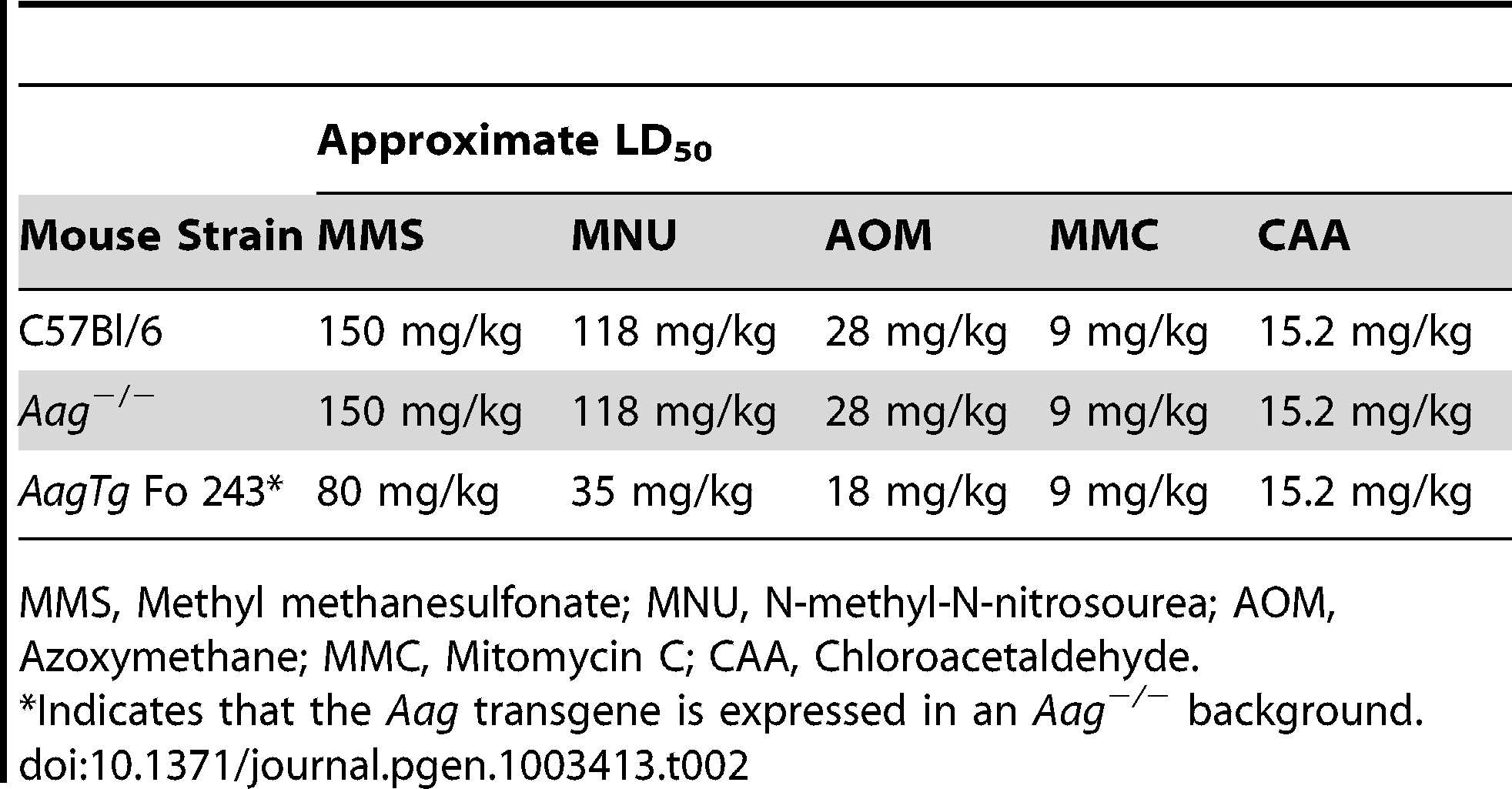 Approximate LD<sub>50</sub> of <i>Aag</i><sup>−/−</sup> and <i>Aag</i> transgenic mice to various genotoxic agents.