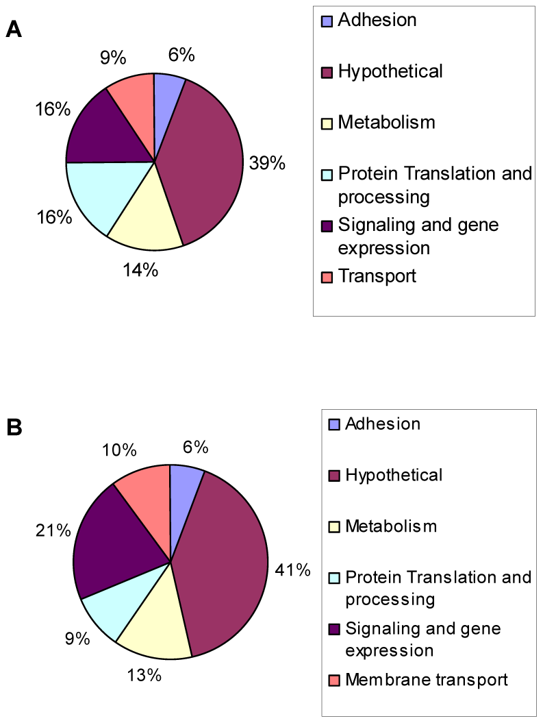Genes modulated during alkaline pH stress in wild-type <i>Toxoplasma</i>.