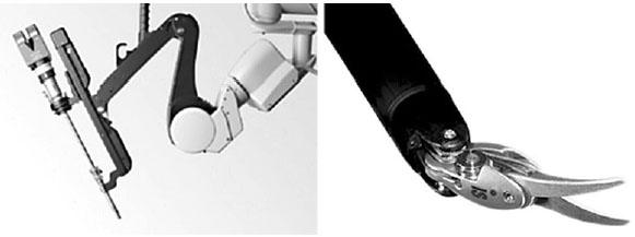 Robotické rameno s nástrojem a detail robotických nůžek