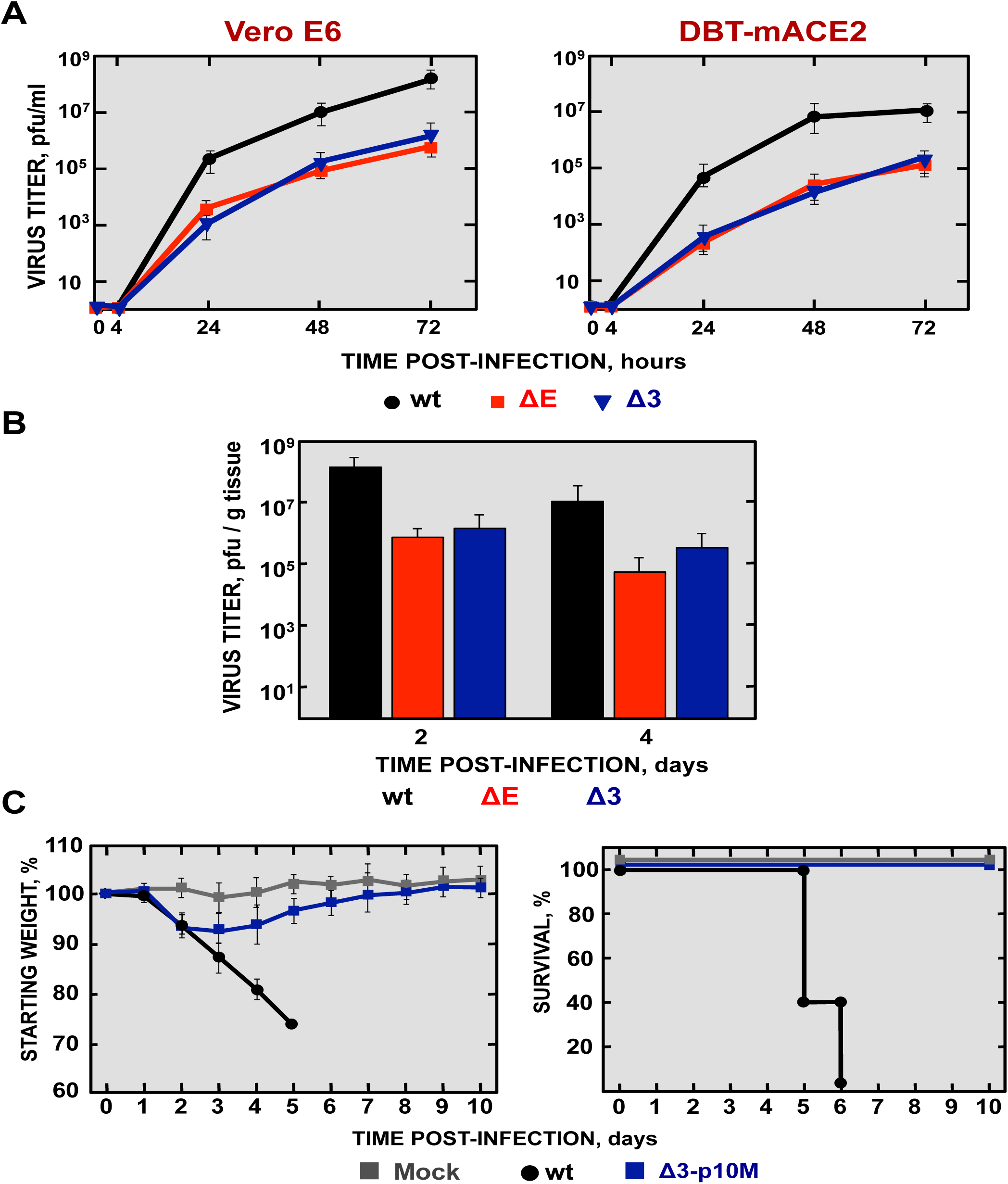 Viral growth of SARS-CoV-∆3 and virulence after serial passage in mice.