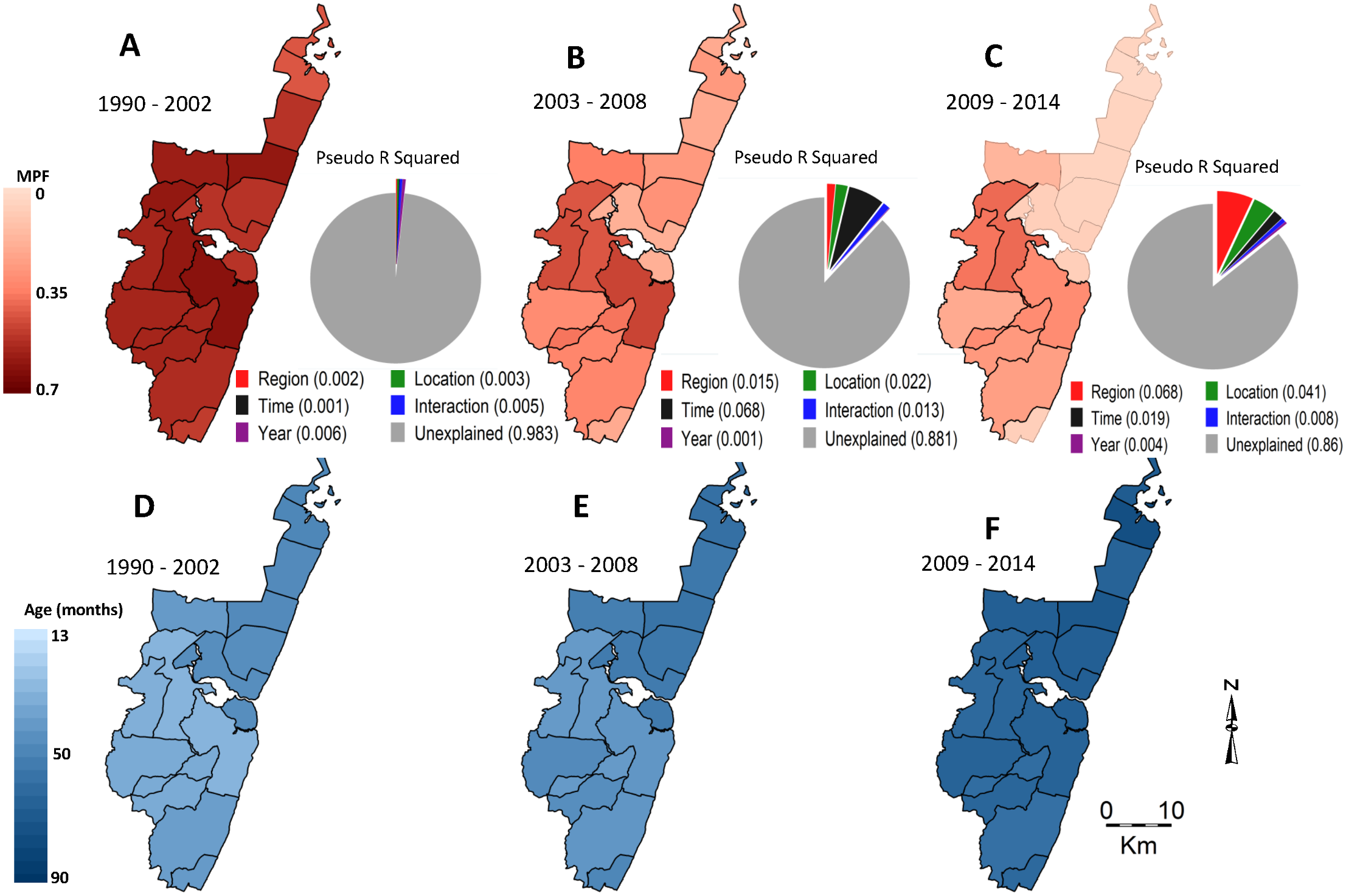 Geographical distribution of MPF and age of slide-positive acute admissions over time.