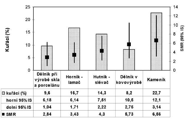 Srovnání úmrtnosti na nezhoubná onemocnění dýchací soustavy u pracovníků se silikózou a populací v ČR podle profese