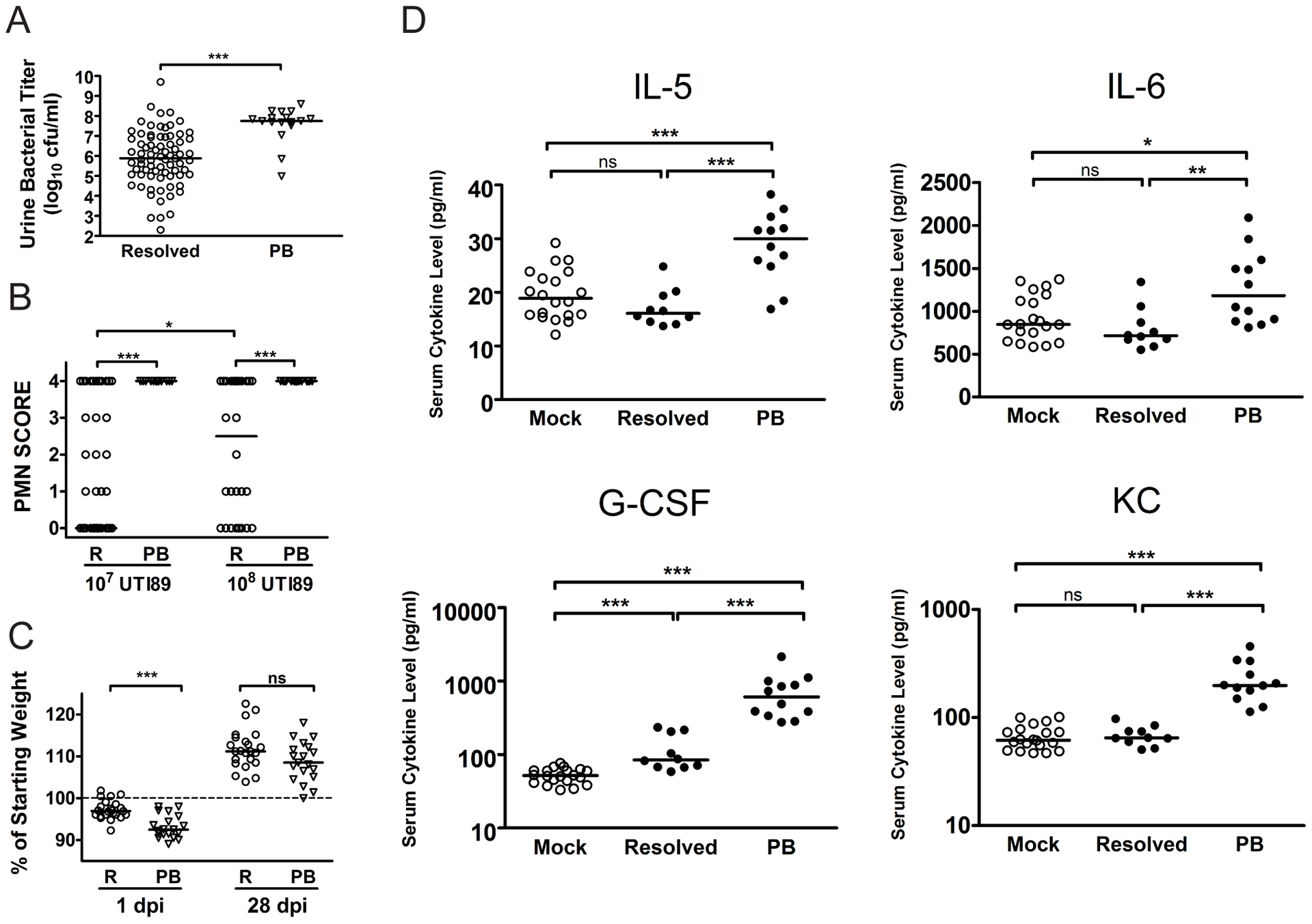 C3H/HeN mice that develop chronic cystitis can be distinguished from their cage mates by several parameters of infection and host response at 24 hpi.