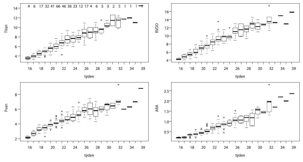 Krabicové grafy pro základní vyjádření rozsahu naměřených hodnot v jednotlivých týdnech těhotenství (TVan – anulus trojcípé chlopně v mm, RVDD – diastolický rozměr pravé komory ze 4CH projekce v mm, PVan – anulus chlopně plicnice v mm, ARA – plocha pravé síně v cm/2, hodnoty při horním okraji grafu ležícího vlevo nahoře = počty měření pro jednotlivý týden)