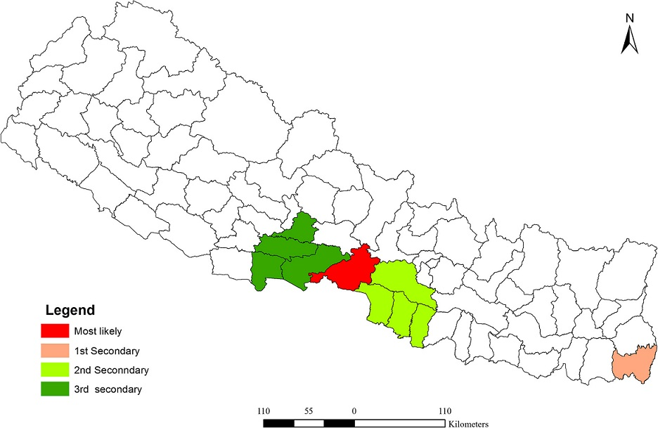 Distribution of spatial clusters of dengue fever in Nepal (2010–2014)