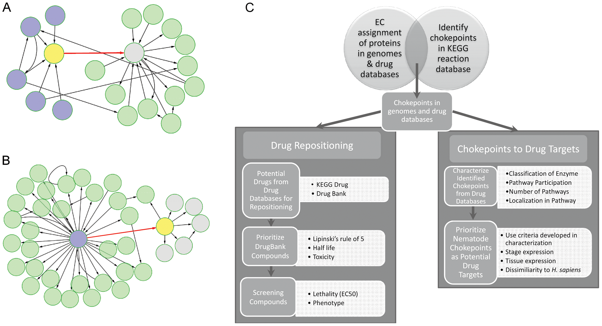 Workflow for identification, characterization, and prioritization of chokepoint drug targets and drug-like compounds.