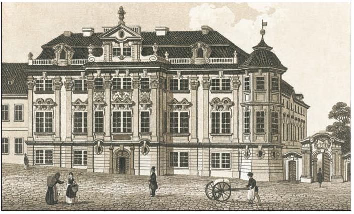 Pohled na Faustův dům z poloviny 19. století, publikovaný v knize W. W. Weitenwebera z roku 1845.