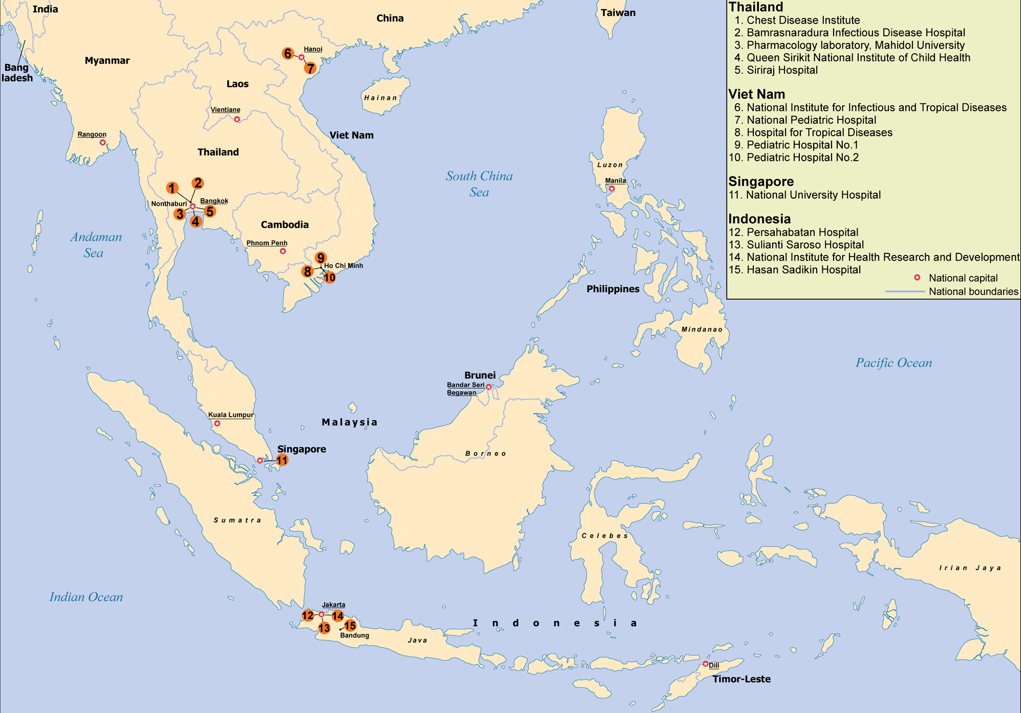 South East Asia Infectious Disease Clinical Research Network sites and laboratories.