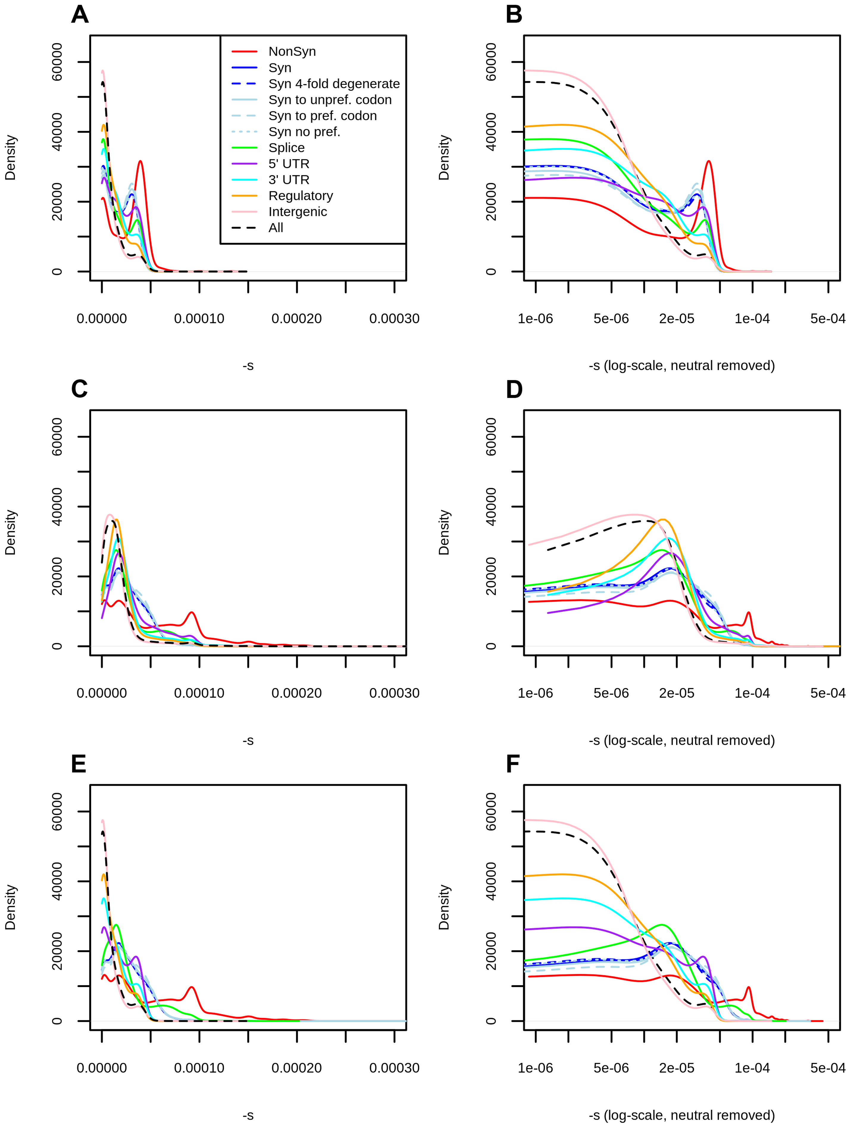 Distribution of fitness effects among YRI polymorphisms in the Complete Genomics dataset, partitioned by the genomic consequence of the mutated site.