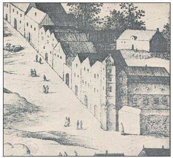 Faustův dům a jeho okolí v roce 1606. Detail ze Sadelerova prospektu Prahy.